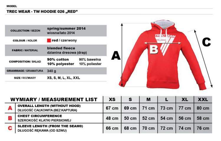 "Bluza Trec Nutrition MEN'S TREC WEAR - WHITE LOGO ""T"" - HOODIE 026/RED"