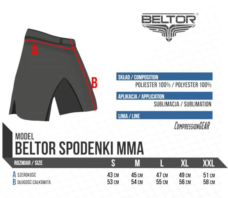 Spodnie Beltor FIGHT SHORTS – THUNDER WINGS