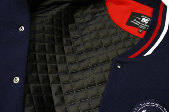 "Kurtka Trec Nutrition  MEN'S TREC WEAR - RED LOGO ""TREC"" - JACKET 001/NAVY BLUE-GRAY MELANGE"