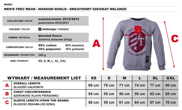 Bluza Trec Nutrition MEN'S TREC WEAR - MAROON SHIELD - SWEATSHIRT 028/GRAY MELANGE