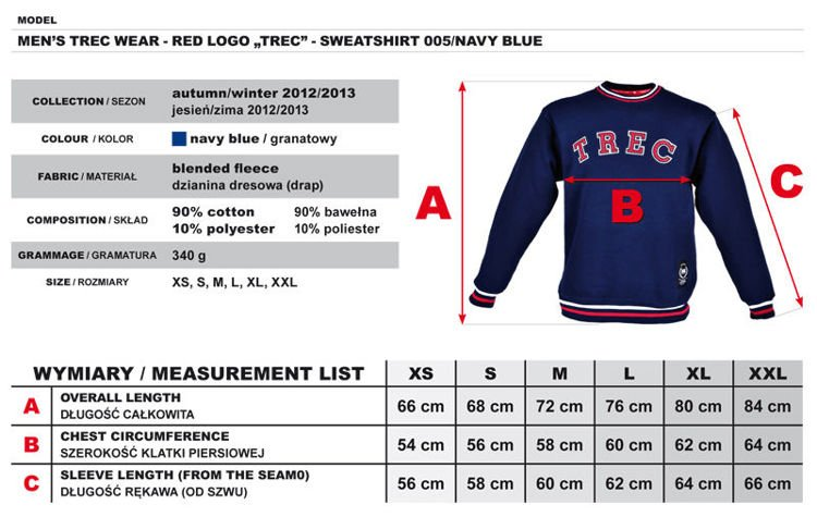 "Bluza Trec Nutrition MEN'S TREC WEAR - RED LOGO ""TREC"" - SWEATSHIRT 005/NAVY BLUE"