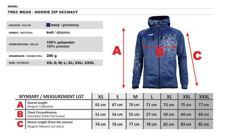 Bluza Trec Nutrition MEN'S TREC WEAR - ZIP 003 - HOODIE/NAVY-MELANGE