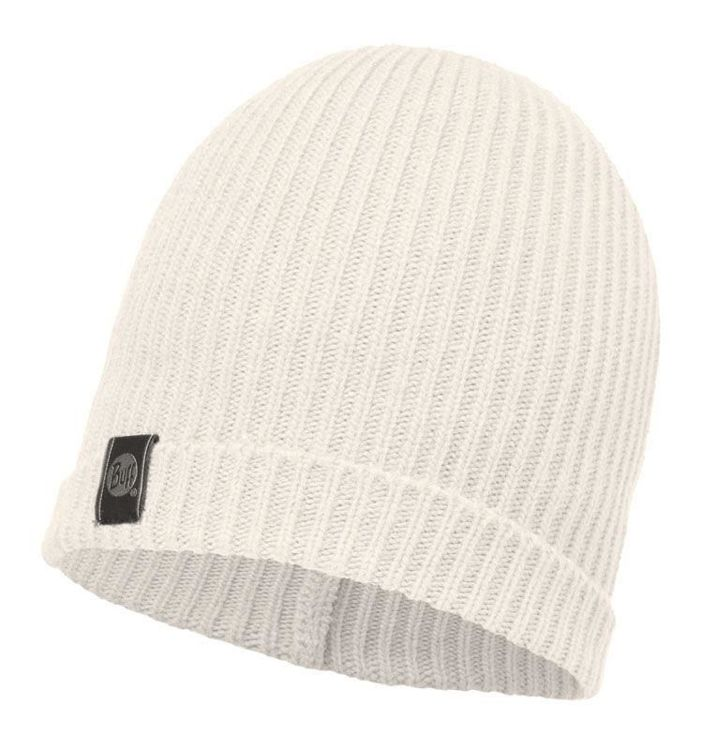 Buff Czapka Knitted Basic Hat White Egret
