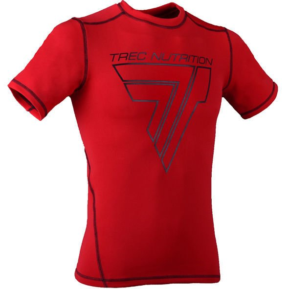 "Koszulka Trec Nutrition MEN'S TREC WEAR - BIG BLACK LOGO ""T"" + TREC TEAM - RASH 005/SHORT SLEEVE/RED"