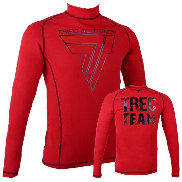"Koszulka Trec Nutrition MEN'S TREC WEAR - BIG BLACK LOGO ""T"" + TREC TEAM TURTLENECK - RASH 006/LONG SLEEVE/RED"