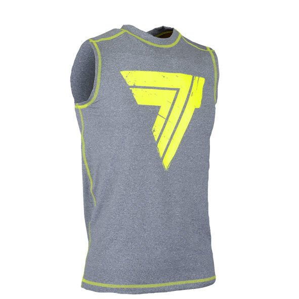 "Koszulka Trec Nutrition MEN'S TREC WEAR - BIG YELLOW LOGO ""T"" - RASH 008/SLEEVELESS/GRAY"