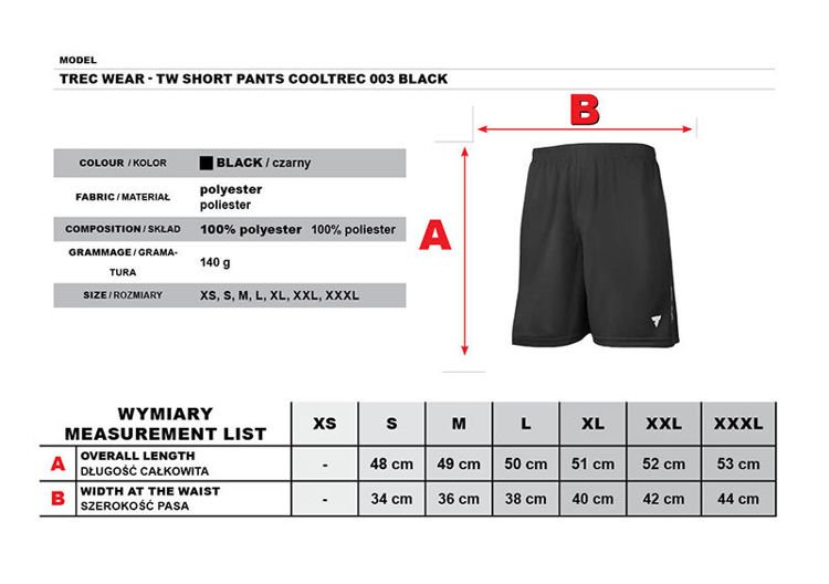 Spodnie Trec Nutrition MEN'S TREC WEAR - COOL TREC 003 - SHORT PANTS/BLACK