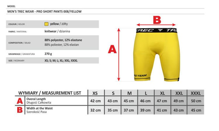 Spodnie Trec Nutrition MEN'S TREC WEAR - TREC TEAM - PRO SHORT PANTS 008/YELLOW
